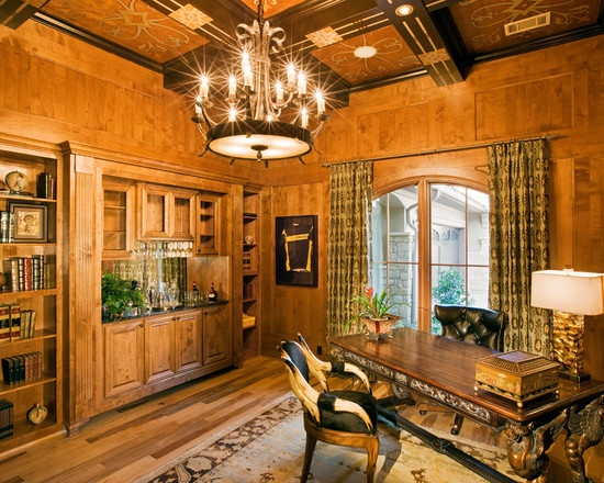 Gentlemans study with wood paneling and built in