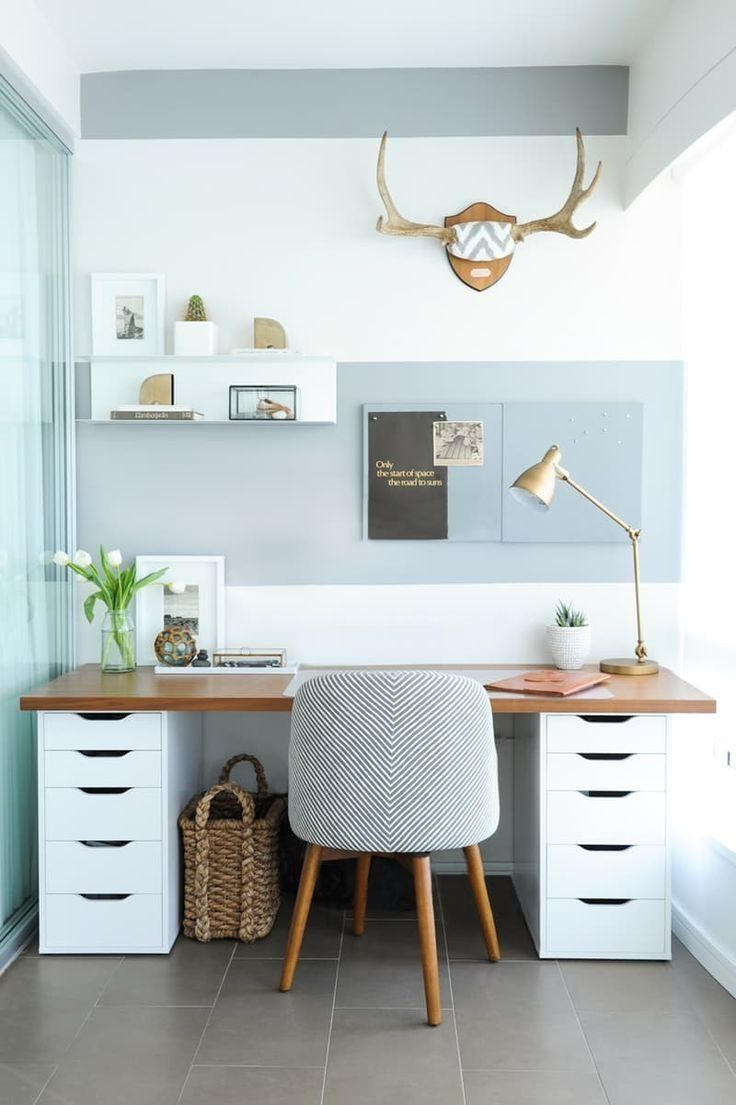 balance a wooden board across two ikea storage cabinets and boomyou have an small home officesmodern