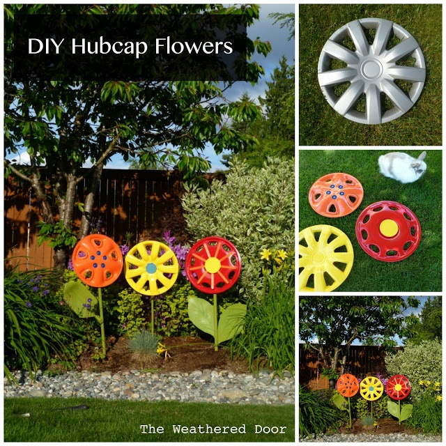 The Weathered Door: Hubcapping- add some embellishments. The stems are broken shovel handles, and add some foam leaves and one wood leaf to make the hubcaps look more realistic :).