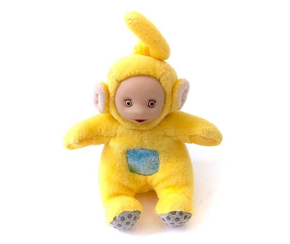 Vintage Teletubby Yellow Laa-Laa Plush Soft Toy Teletubbies!  Follow Me & Use The Coupon Code PINTEREST For 10% Off Your ENTIRE Order of 80s & 90s Cute Vintage Toys at www.CuteVintageToys.com Dozens of G1 My Little Ponies, Polly Pockets, Popples, Strawberry Shortcake, Care Bears, Rainbow Brite, Moondreamers, Keypers, Disney, Fisher Price, MOTU, She-Ra Cabbage Patch Kids, Dolls, Blues Clus, Barney, Teletubbies, ET, Barbie, Sanrio, Muppets, Sesame Street, & Fairy Kei!