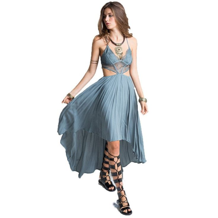 Bohemian Deep V Neck Floral Lace Bodice Cut Out Maxi Long Dress (3 col – Boho Universe