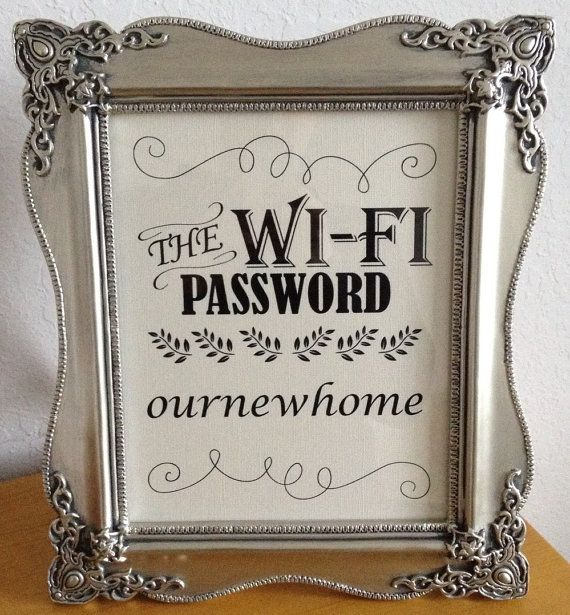 "What a good idea! Framed Guest bedroom WiFi password sign ""The WiFi Password"" by OurWonderfulLife, $10.00"