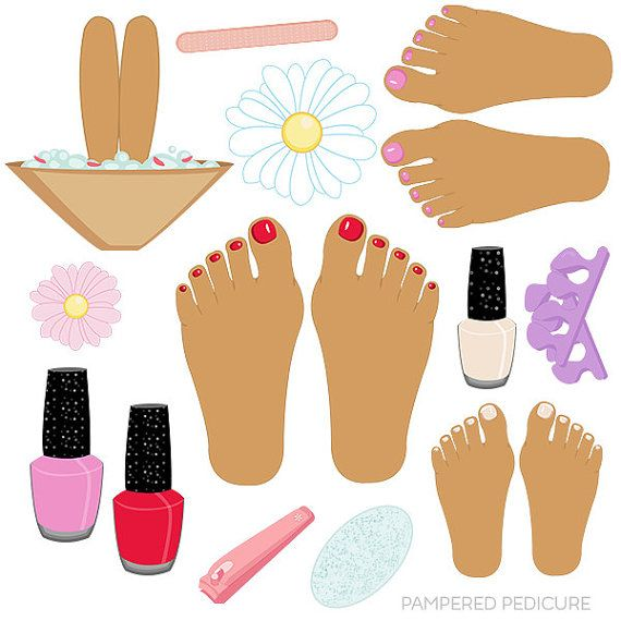 Pampered Pedicure V2 Cute Digital Clipart Commercial Use Ok Etsy Pedicure Painted Toe Nails Clip Art