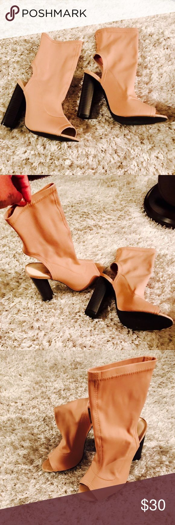 Nude sock bootie Nude sock bootie with peep toe extra comfy and great fashion item come in a size 7.5 Shoes Ankle Boots & Booties