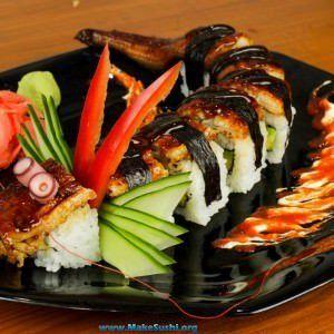 Dragon sushi roll recipe| Make Sushi