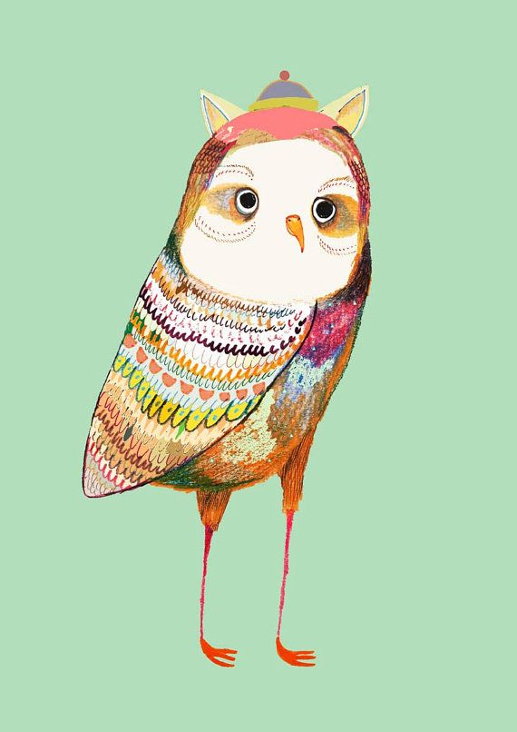 The colorful Owl. Art Print. Owl Poster. by AshleyPercival on Etsy, $40.00