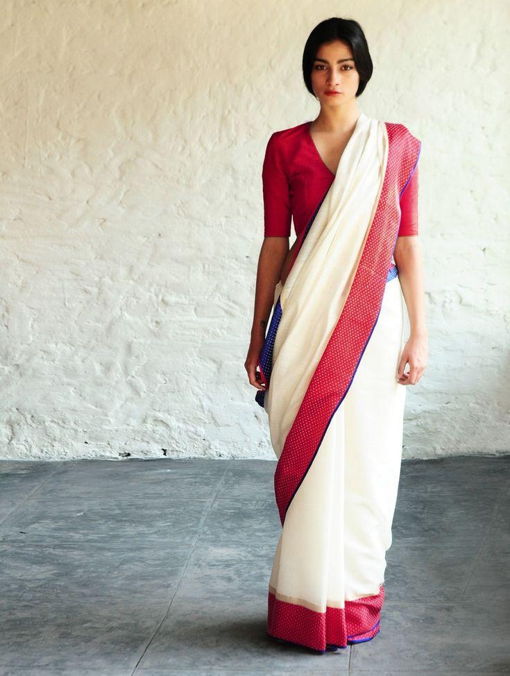 Sultanah Mashroo White Cotton-Silk Saree By Raw Mango