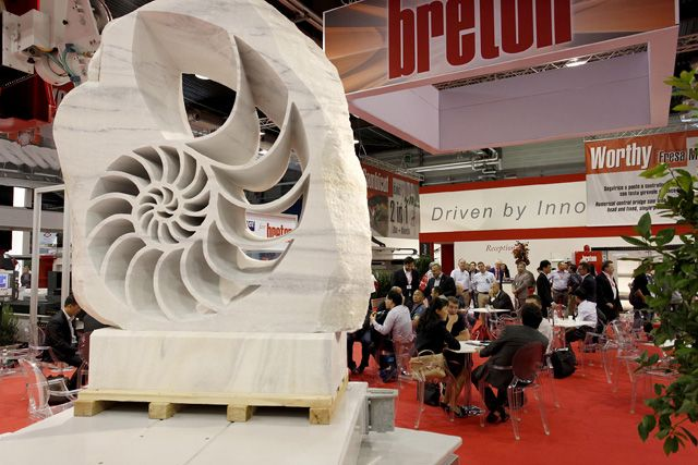 """Sculpture """"Nautilus"""" produced by KIENESBERGER's """"FUEGO"""" at the 50th Marmomacc 2015. ~ Breton stone machinery"""
