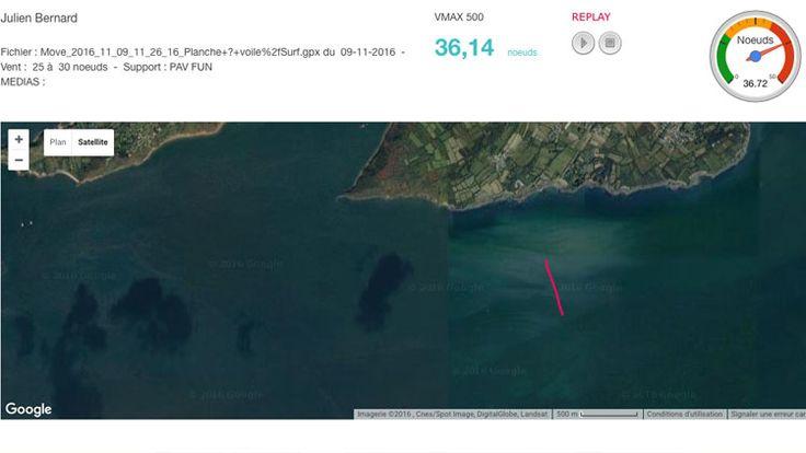 RECORD BATTU en WINDSURF SLALOM !!! à qui le tour ???? Ca promet, à peine le premier coup de vent moyen en place, à peine le record tombe ... 36,14 nds sur 500m, et une max pure à 38,78 nds sur une seconde ! Découvrez l'athlète amateur et sa trace ici => http://basevitessebrest.com/resultat.html Les dépressions arrivent, affutez vos ailerons :-) #Brest