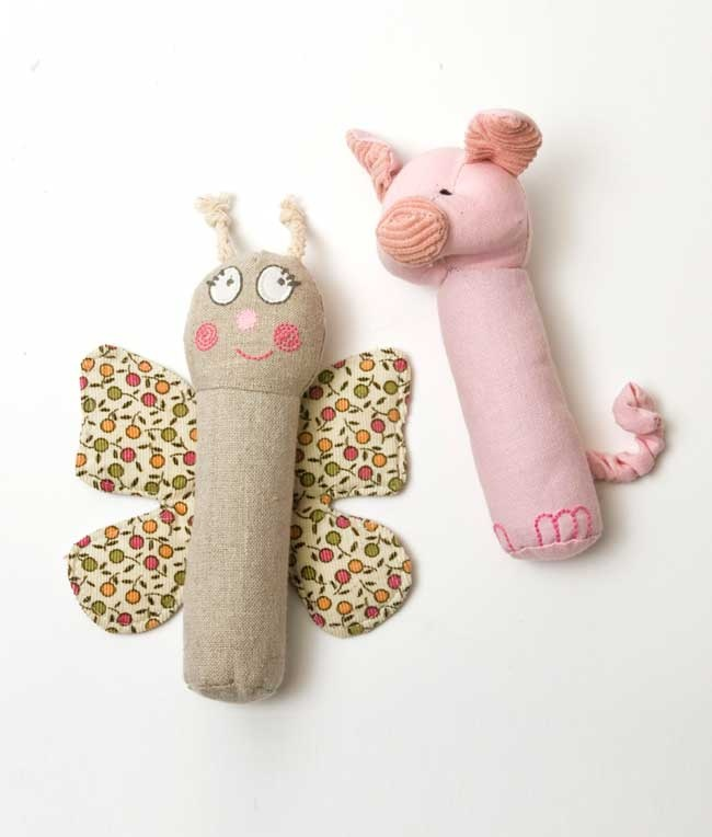 Butterfly & Pig Baby Rattle