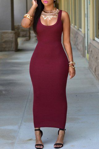 Sexy U Neck Sleeveless Pure Color Bodycon Women's DressBodycon Dresses | RoseGal.com