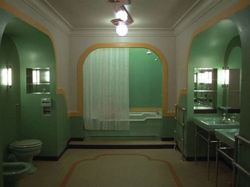 It's a creepy scene from a movie that creeps me the hell out, but what an amazing bathroom. - From The Shining