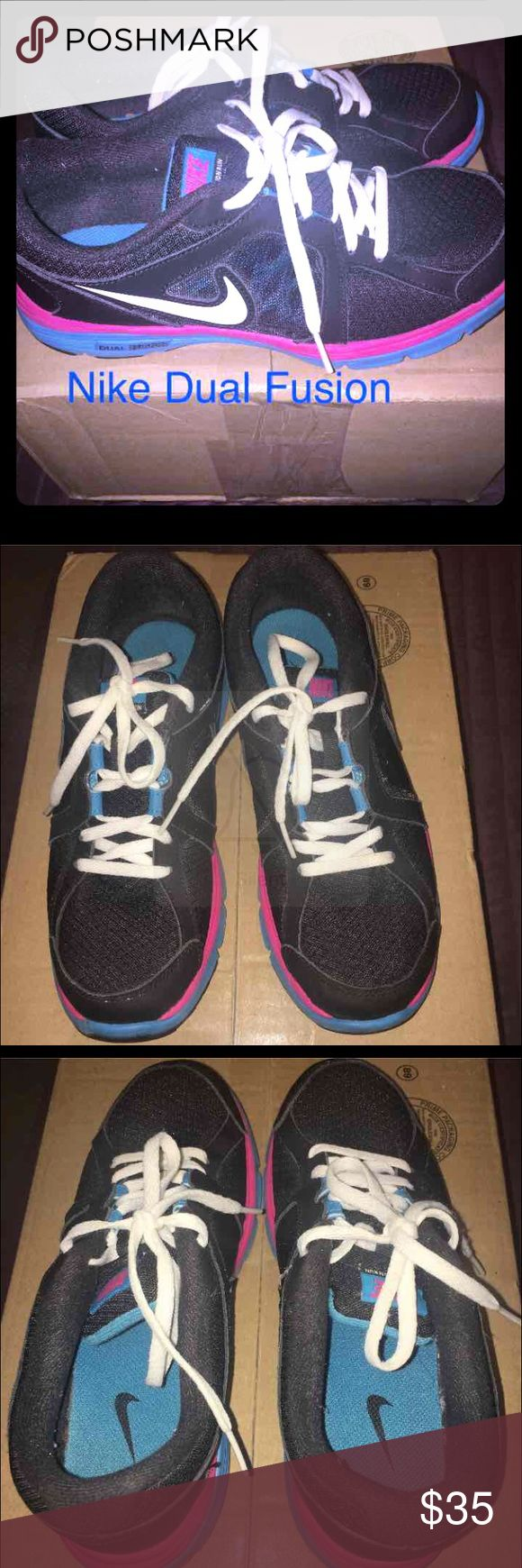 Nike Dual fusion sneakers Gently used. Size youth 5.5 is a women's 6 1/2 to 7. Without original box. Nike Shoes Sneakers