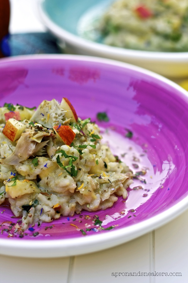 Risotto with Artichokes, Apples and Flower Sprinkles @Rowena Dumlao Giardina (Apron and Sneakers)