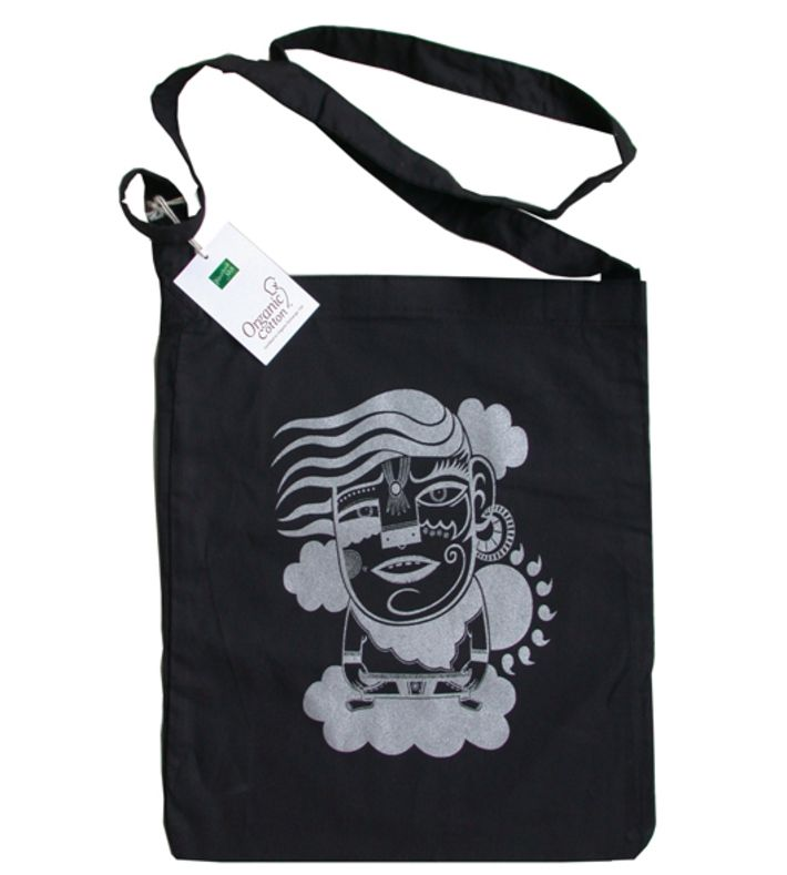 """Certified 100 % organic cotton tote bag with screenprinted (metallic) artwork. The bag has one long handle and has """"Rip-Strip"""" closure. 38 cm X 32 cm. Limited edition (50).  You can buy this tote bag at www.artrebels.com #artrebels #totebag #art"""