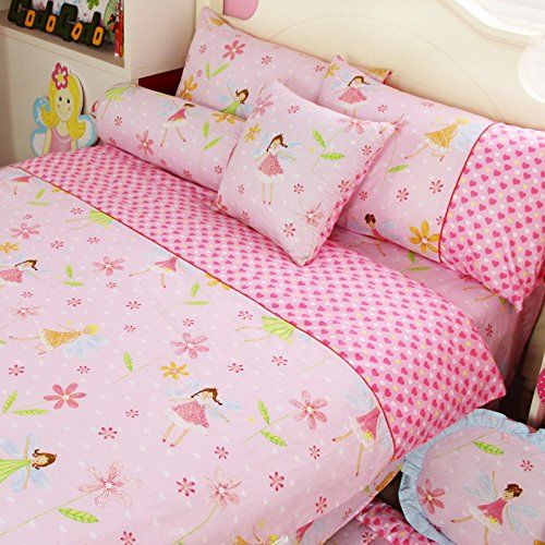 LELVA Pink Girl Bedding Set Princess Bedding Kids Bedding for Girls 100 Cotton Childrens Duvet Cover Set Queen 2 -- More info could be found at the image url.
