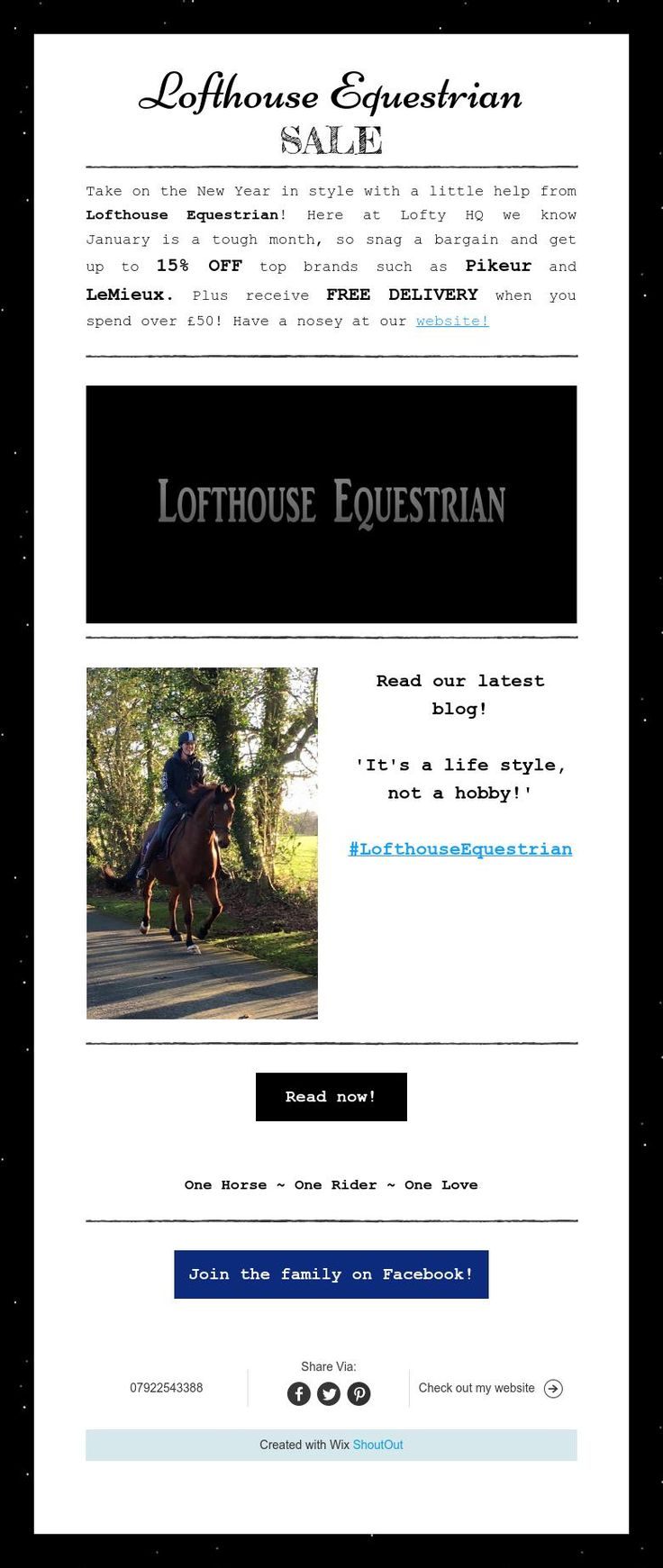 Lofthouse Equestrian Newsletter December 2015! Sale items and our recent blog!