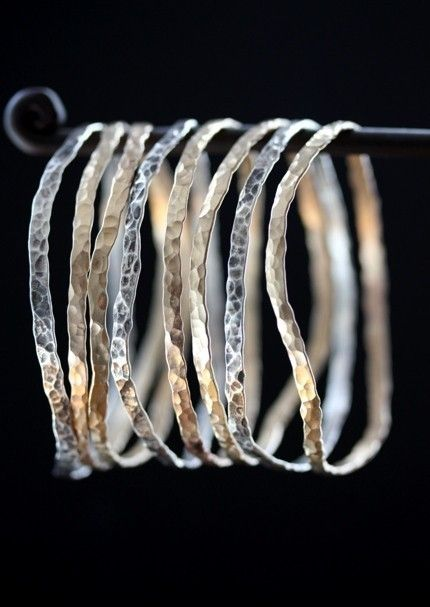Hammered Mixed Metal Bangles-set of 3- sterling silver, 14kt gold, bracelet, oxidized. $168,00, via Etsy.
