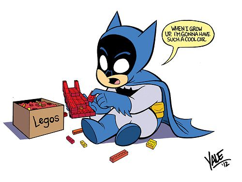 Bruce playing with Legos by Yale Stewart