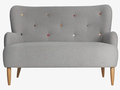 WILMOT GREYS Wool Grey fabric 2 seat sofa with multi-coloured buttons - Wilmot- HabitatUK