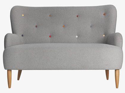 WILMOT GREYS Wool Grey fabric 2 seat sofa with multi-coloured buttons - Wilmot- HabitatUK