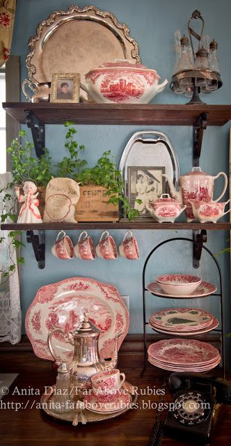 I still like the Country English decor style... I have a collection of this lovely red transfer-ware. Love this vignette.