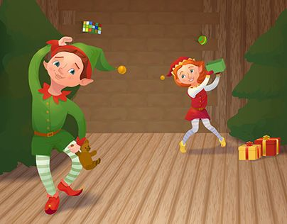 """Check out new work on my @Behance portfolio: """"Christmas greeting card. Santa's elves"""" http://be.net/gallery/46288175/Christmas-greeting-card-Santas-elves"""