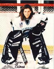 Manon Rhéaume (born 1972) is a Canadian ice hockey goaltender. An Olympic silver medalist, she achieved a number of historic firsts during her career, including becoming the first and only woman ever to play in a National Hockey League exhibition game. In 1992 Rhéaume signed a contract with the Tampa Bay Lightning of the NHL.