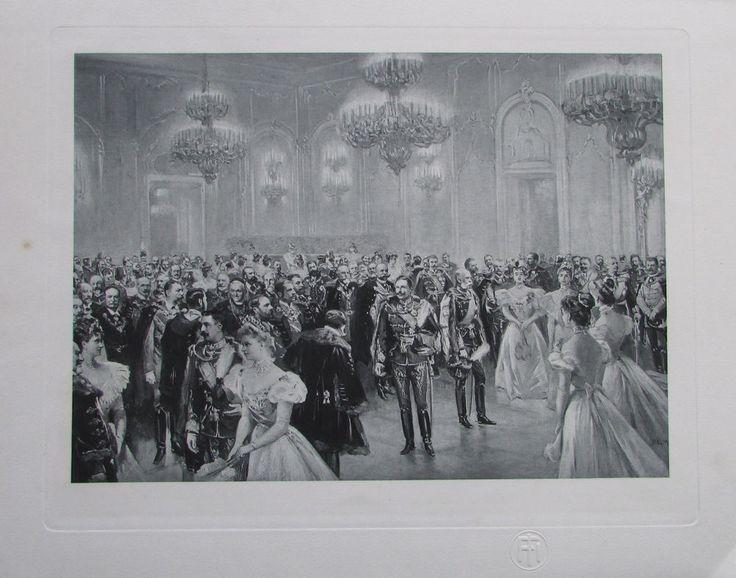 Empfang bei Hofe Besuch Kaiser Wilhelm II, Franz Joseph I - Heliogravur aus 1908