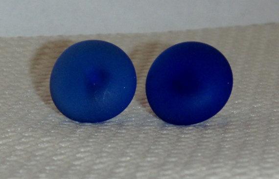 Cobalt Blue Glass Retro Button Stud Earring by rosepetalsjewelry, $6.00