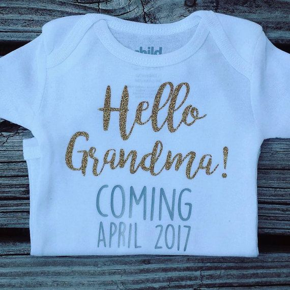 Pregnancy Announcement Onesie Hello Grandma Hello by MoonylDesigns