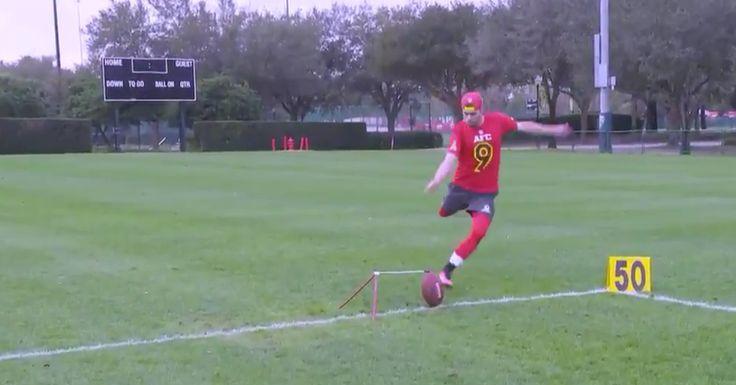 Ravens Kicker Justin Tucker Nails 50-Yard FG Into A Basketball Hoop During Pro Bowl Practice