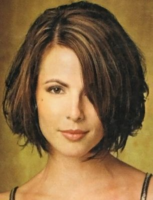 Short Bob Hairstyle Chin Length And Side Fringe With Part