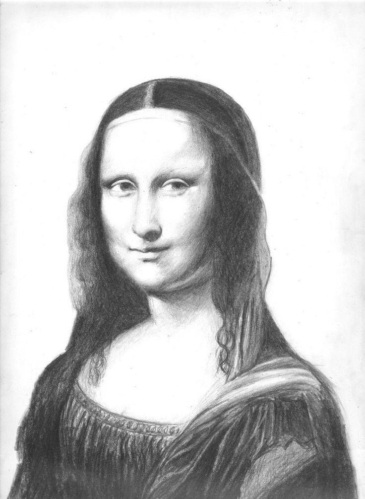 Contour Line Drawing Of Mona Lisa : Images about art mona lisa black white on pinterest