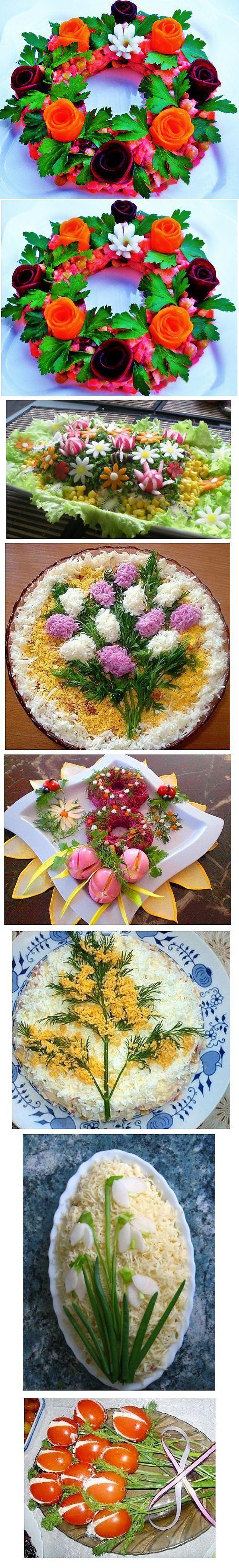 Versiering van de feestelijke lente salades