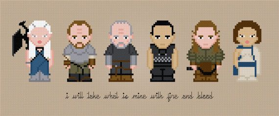 Daenerys Targaryen & Company  Game of Thrones cross-stitch