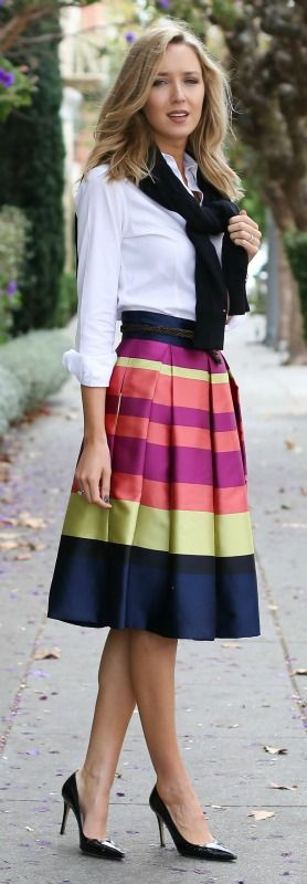 bright striped midi skirt, classic white dress shirt, black cable knit sweater, black pointy toe pumps, braided belt + watch {anthropologie, brooks brothers, tommy hilfiger, sjp collection, gap, daniel wellington}