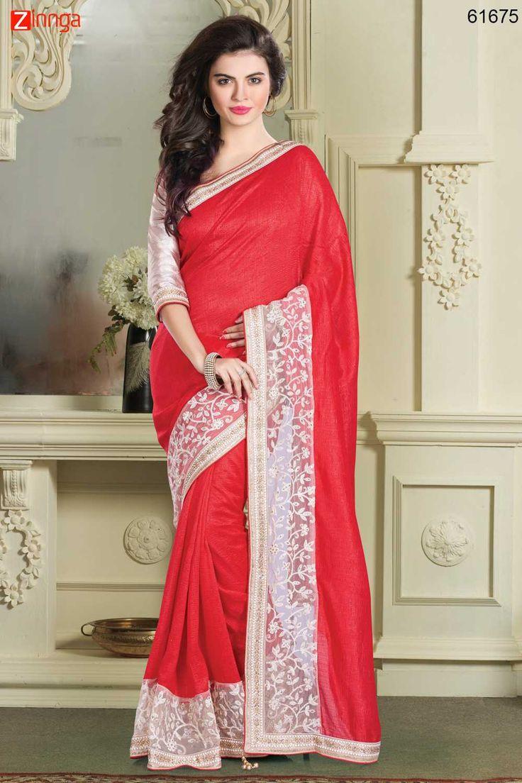Deep Scarlet Silk Saree. For Details www.zinnga.com