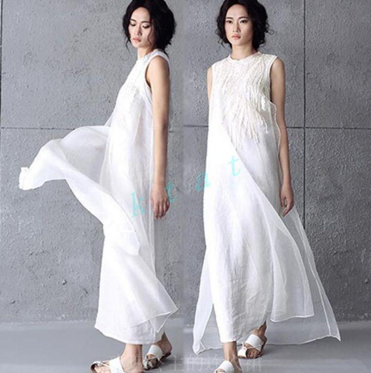 Fashion Womens A-Line Maxi Shirt Cotton Linen Ladies Beach Loose Long Dress