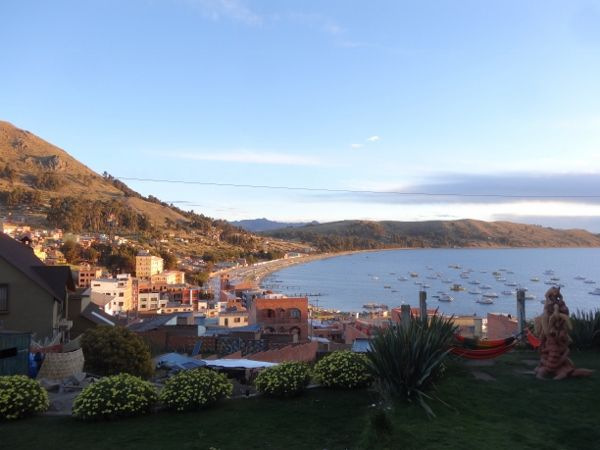 Sunset View from our Copacabana, Bolivia, hotel