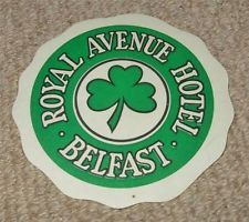 ROYAL AVENUE HOTEL - BELFAST - VINTAGE HOTEL LUGGAGE LABEL - SHAMROCK