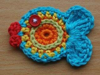 Vis haken, met patroon. Crochet fish