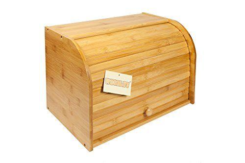 Woodluv Bambus Double Decker 2Layer Rolle Top Brotkasten, aus Holz Küche Aufbewahrung