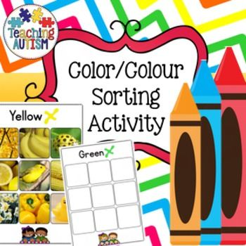 Color / Colour Sorting Activity  This resource contains 6 different color/colour sorting worksheets.   You can either use this as a re-usable activity where you laminate it all and use velcro or it can be used as a worksheet for students to cut and stick.  6 cols included; red, green, yellow, purple, blue and orange.  ★ The pages come in b/w and col option but the photos only come in col option. ★