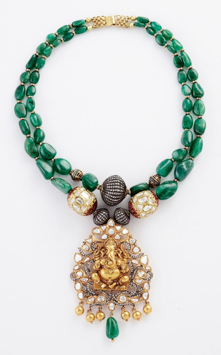 Yellow gold, Zambian emerald and diamond double strand necklace with large yellow gold, pearl and diamond Ganesh pendant