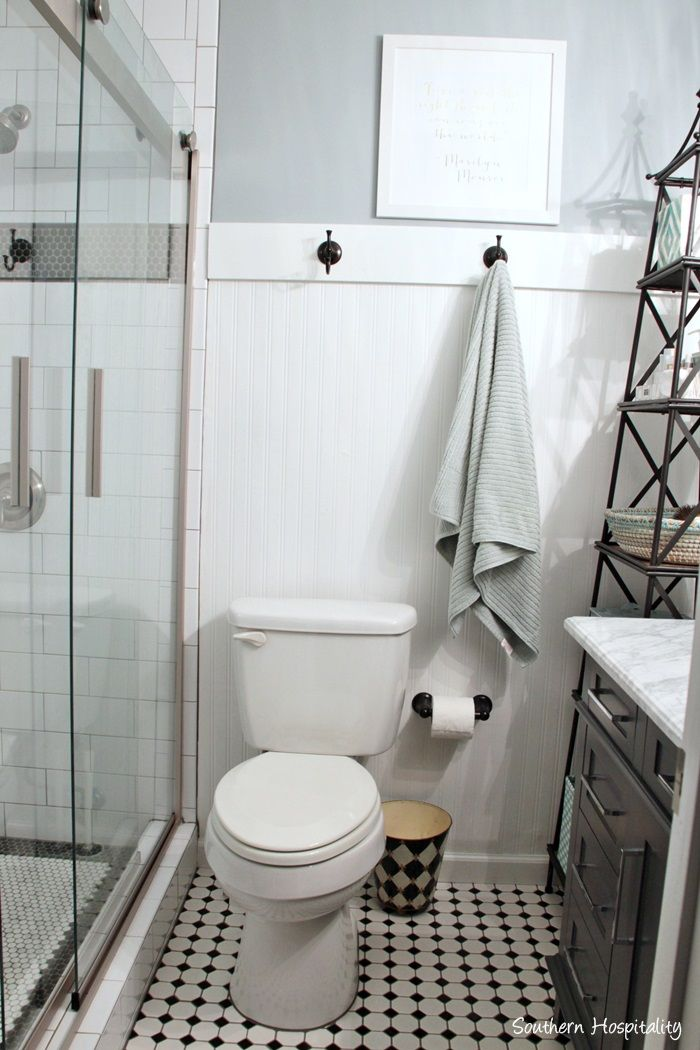 Small Bathroom Tile Installation Cost: Small Black And White Master Bathroom Reveal