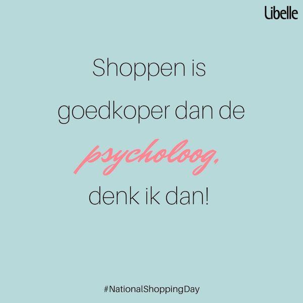 Is het tijd om je kleerkast weer wat aan te vullen? Komt dat goed uit, want 14 oktober is het National Shopping Day! Dat wil zeggen: een hele dag shoppen aan 20% korting bij verschillende merken en ketens. Benieuwd welke merken en ketens meedoen? Ontdek het op Libelle.be  #nationalshoppingday #quote #shopping #mijnlibellemoment