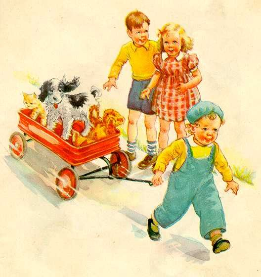 Dick and Jane: Childhood Books, Cat, Little Red, Childhood Memories, Vintage Prints, Teddy Bears, Learning To Reading, Red Wagon, Jane Books