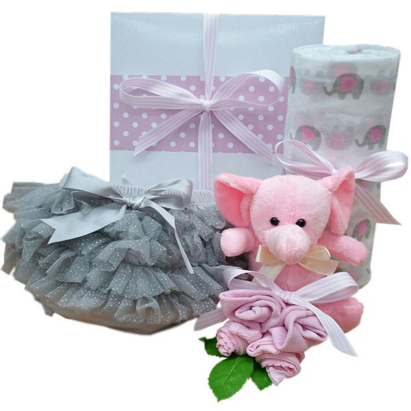 So cute! little elephant and frilly pants baby hamper #babygirlgifts #babygirlhampers