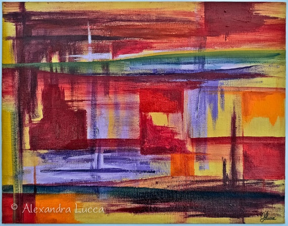 """Strokes"" - Original Abstract Painting by AlexandraLucca on Etsy, $125.00"